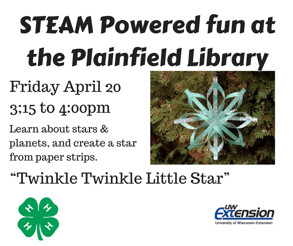 STEAM Project Waushara UW-Extension | Plainfield Public Library