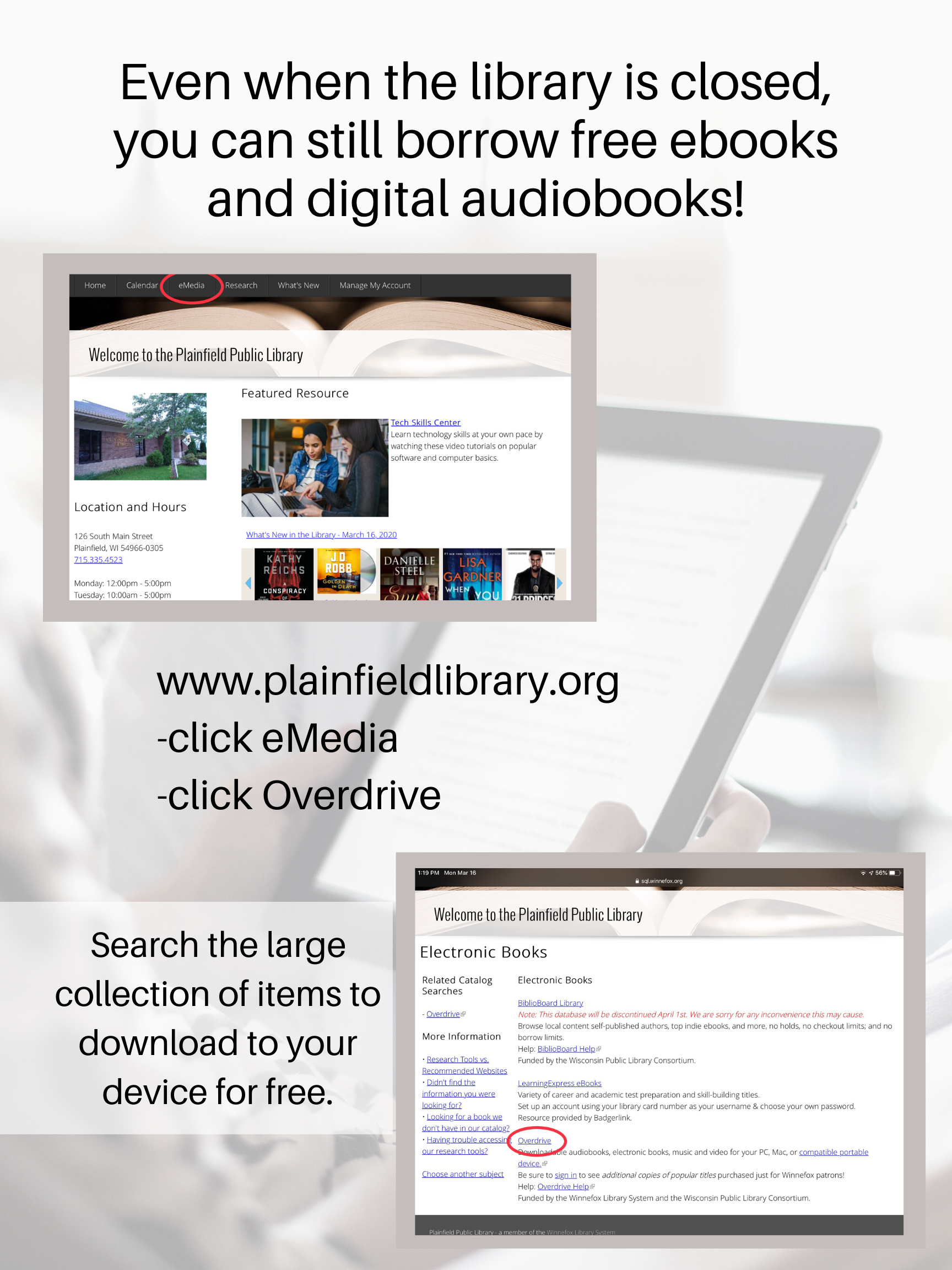 Overdrive is a great way to download books and audiobooks
