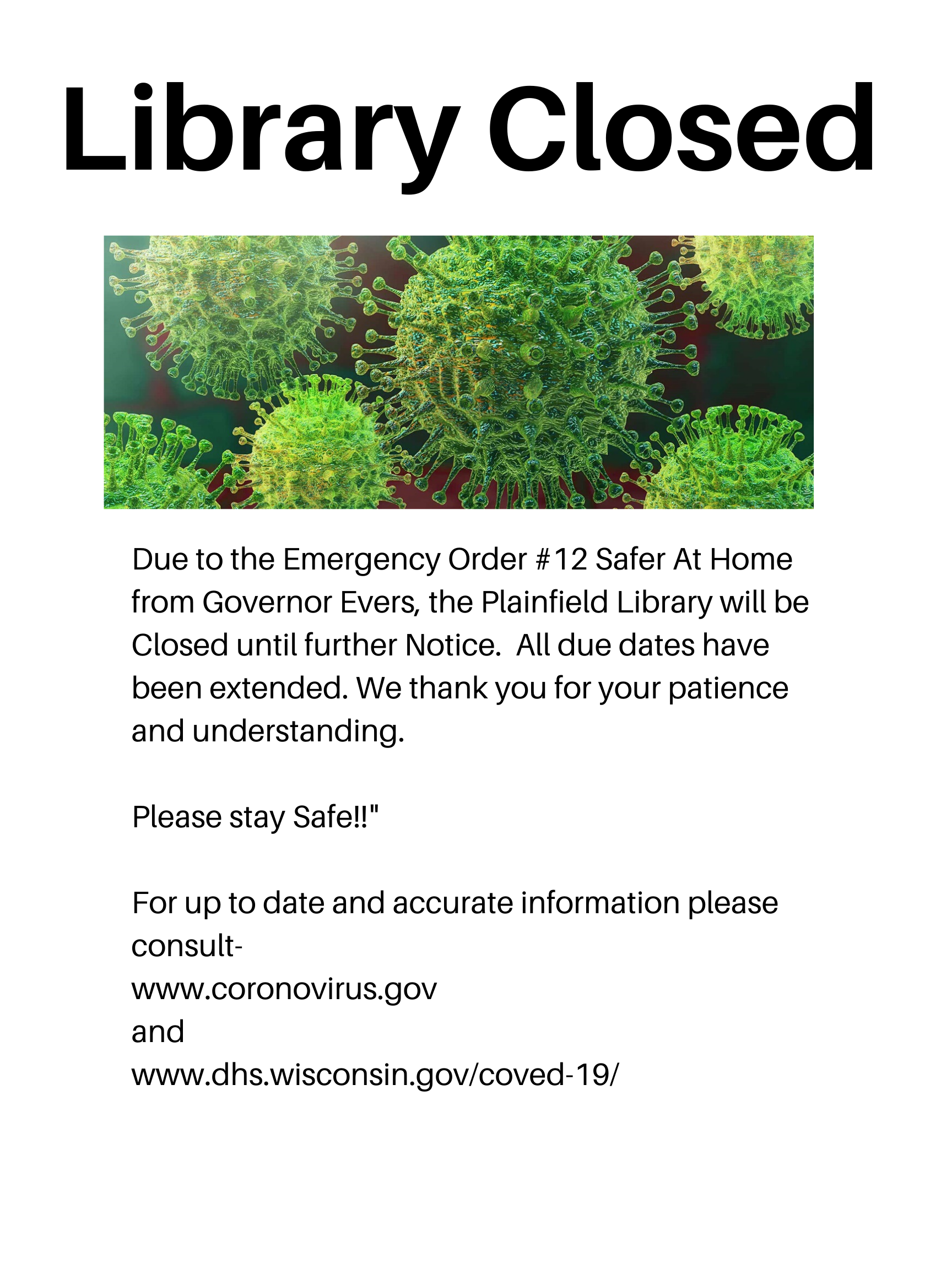 Library Closed -Safer At Home Order